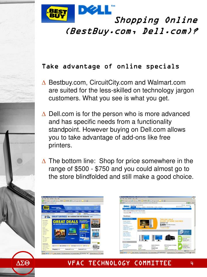 Shopping Online (BestBuy.com, Dell.com)?