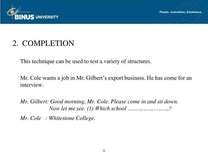 2. COMPLETION
