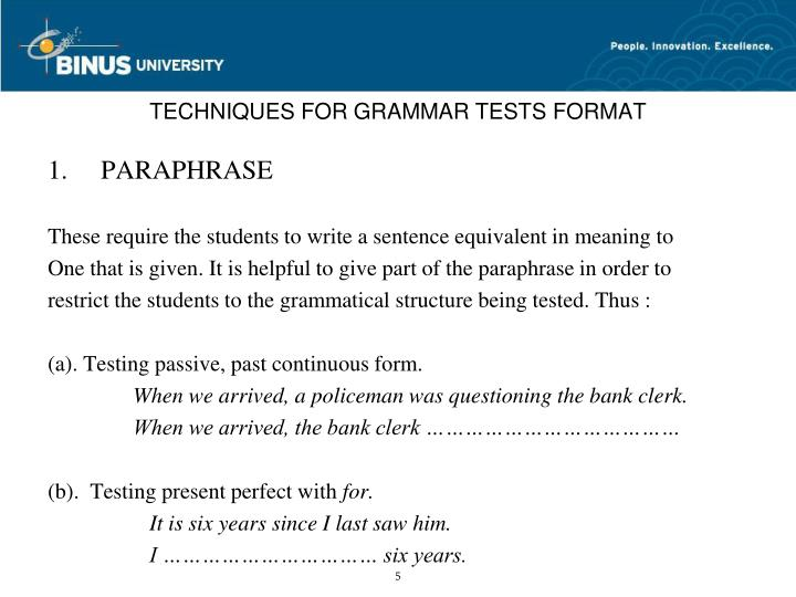 TECHNIQUES FOR GRAMMAR TESTS FORMAT