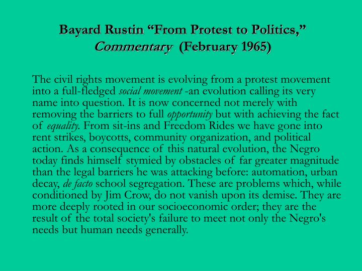 "Bayard Rustin ""From Protest to Politics,"""