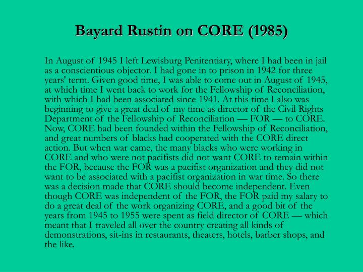 Bayard Rustin on CORE (1985)