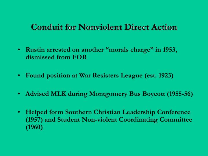 Conduit for Nonviolent Direct Action
