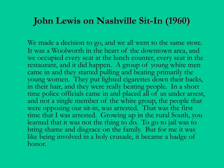 John Lewis on Nashville Sit-In (1960)