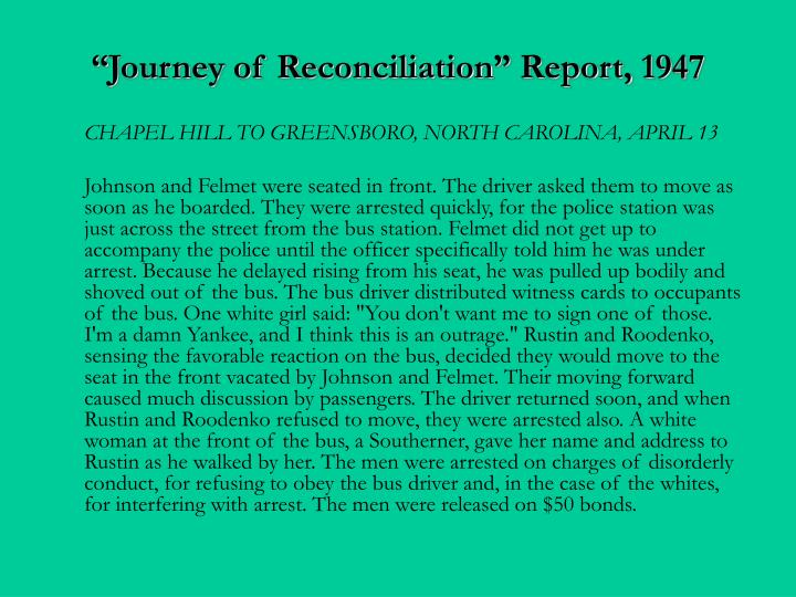 """Journey of Reconciliation"" Report, 1947"