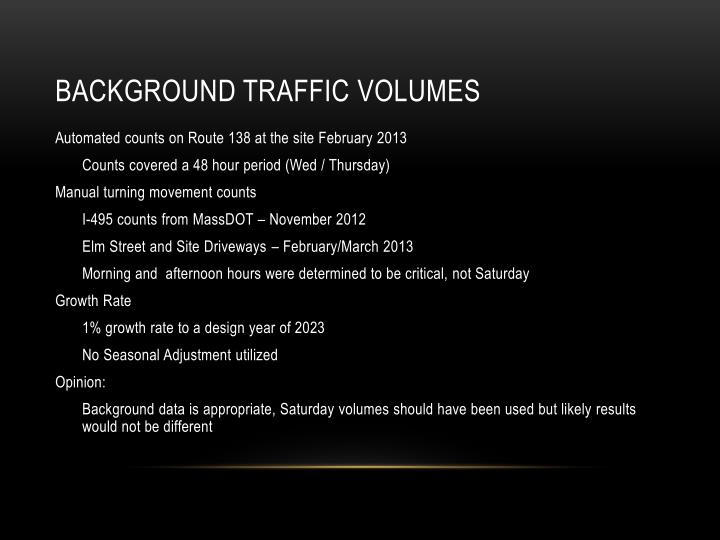 Background traffic volumes