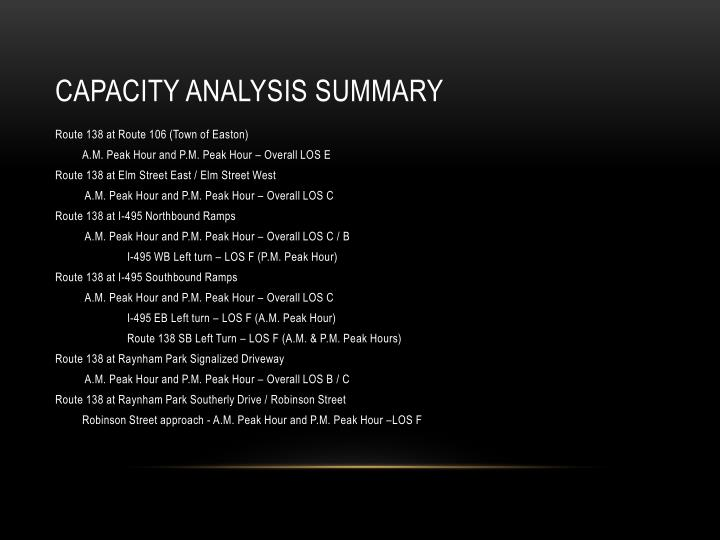 Capacity analysis summary