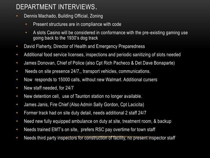 Department Interviews