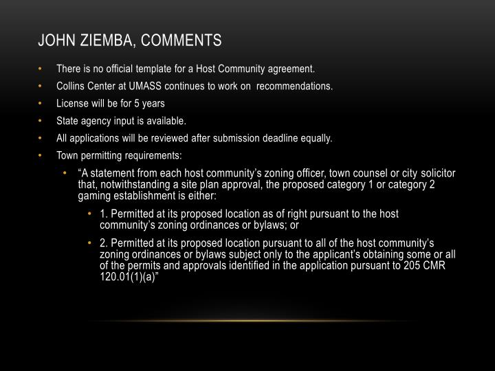 John Ziemba, comments