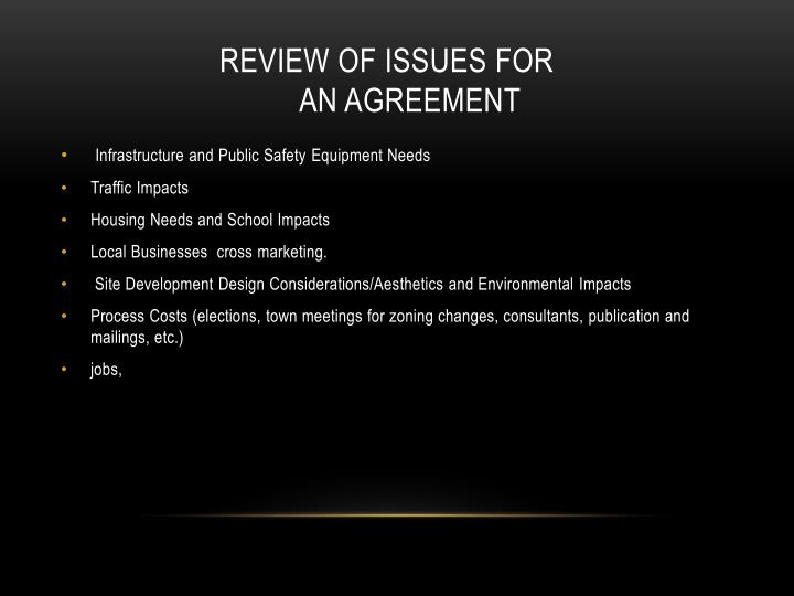 Review of issues for       an agreement