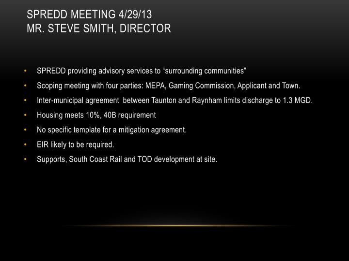 SPREDD Meeting 4/29/13