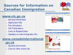 sources for information on canadian immigration