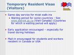 temporary resident visas visitors