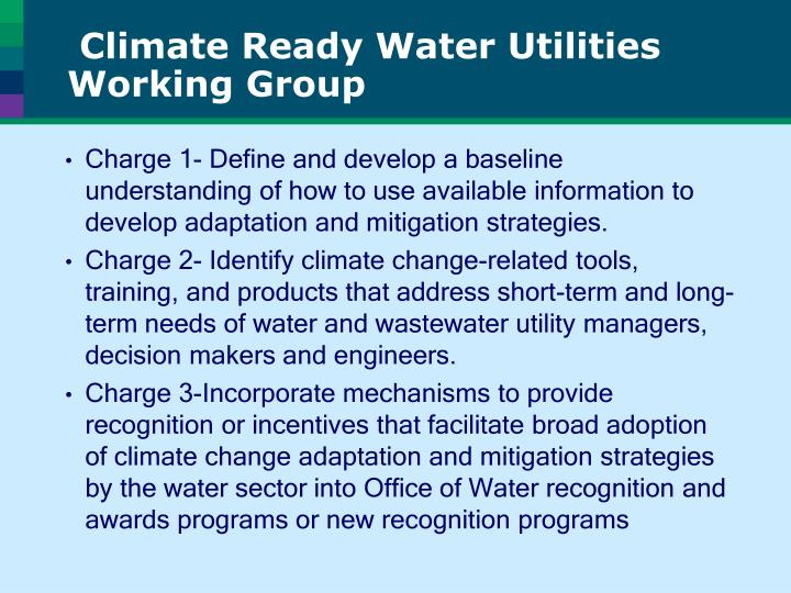 Climate Ready Water Utilities Working Group