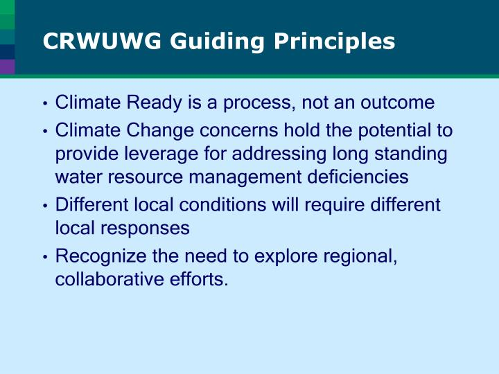 CRWUWG Guiding Principles