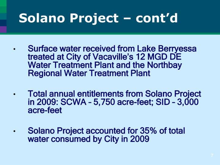 Solano Project – cont'd