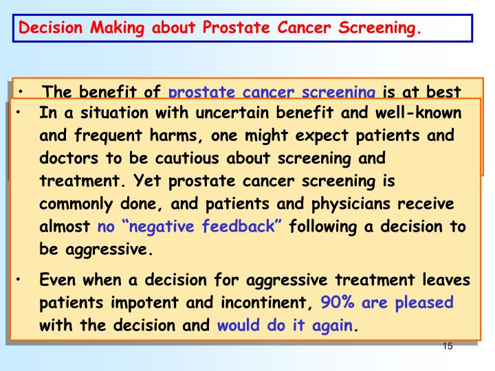 Decision Making about Prostate Cancer Screening.