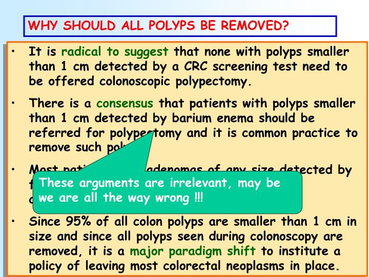 WHY SHOULD ALL POLYPS BE REMOVED?