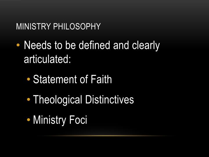 Ministry Philosophy