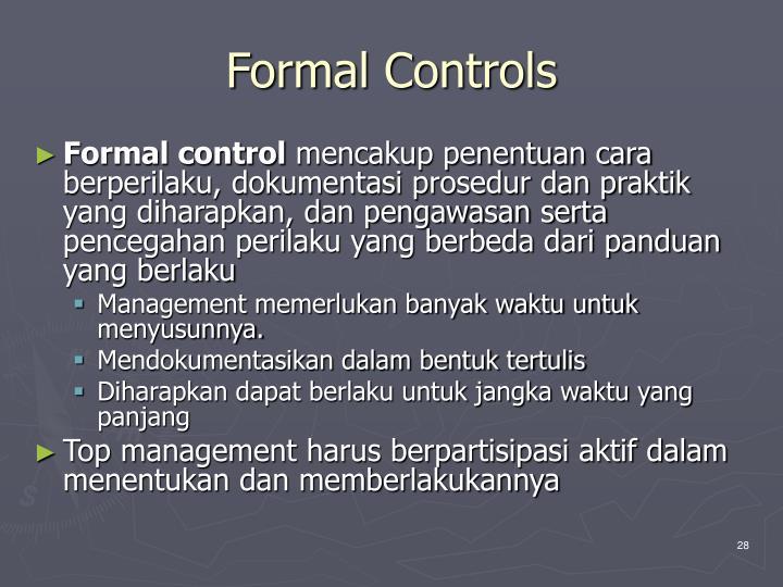 Formal Controls
