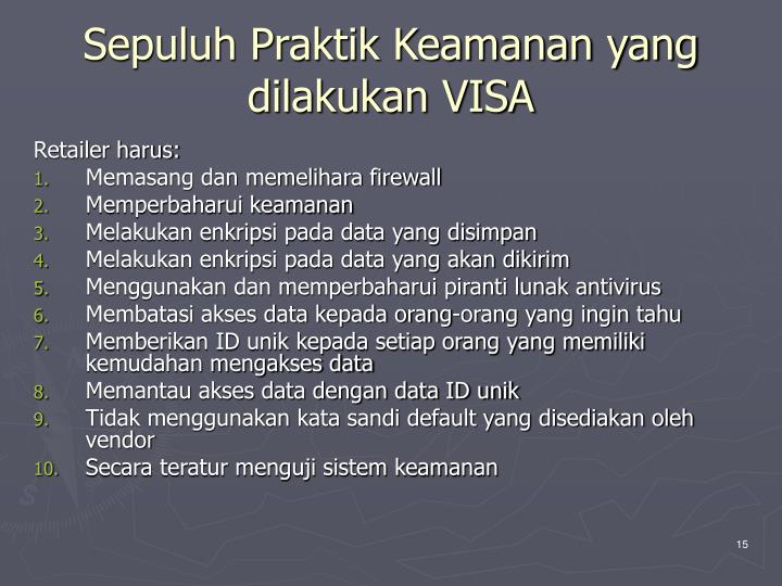 Sepuluh Praktik Keamanan yang dilakukan VISA