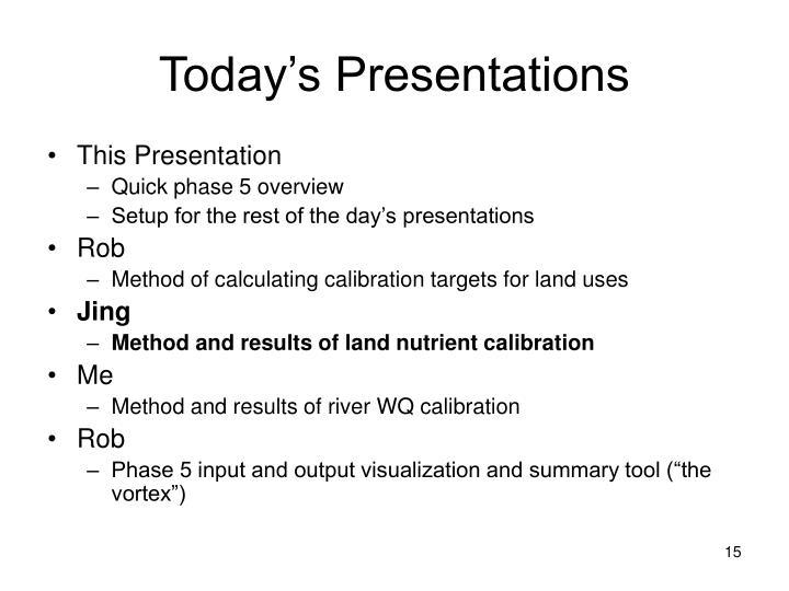 Today's Presentations