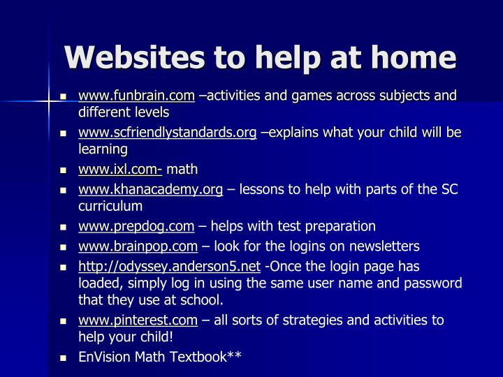Websites to help at home