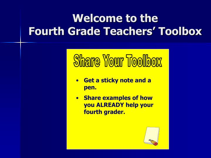 Welcome to the fourth grade teachers toolbox
