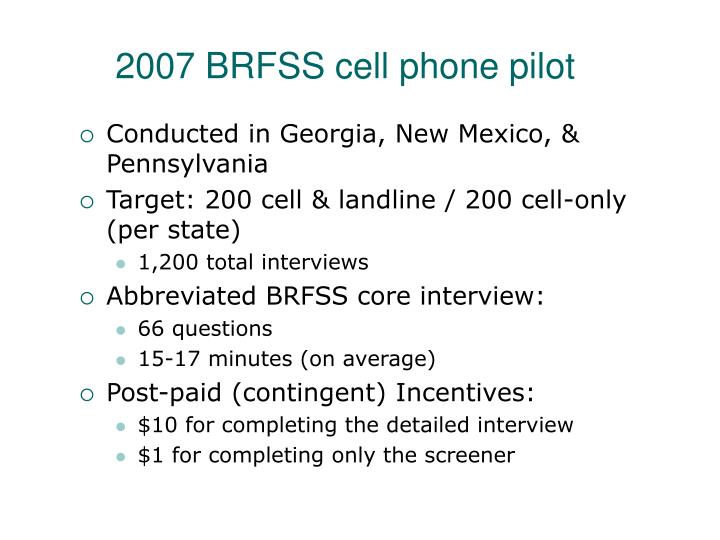 2007 BRFSS cell phone pilot