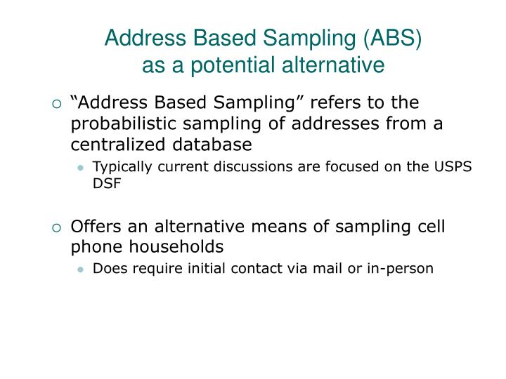 Address Based Sampling (ABS)