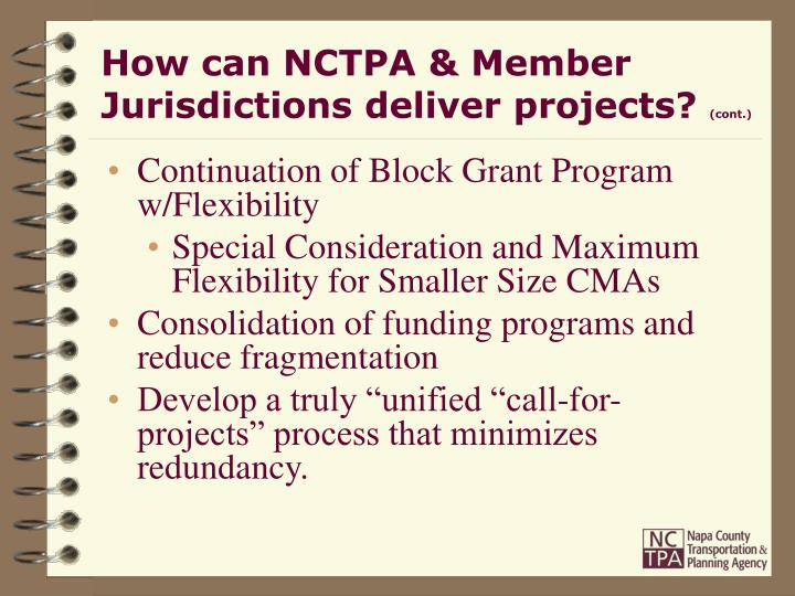 How can NCTPA & Member Jurisdictions deliver projects?