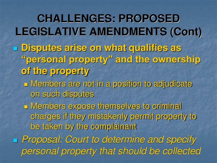 CHALLENGES: PROPOSED LEGISLATIVE AMENDMENTS (Cont)