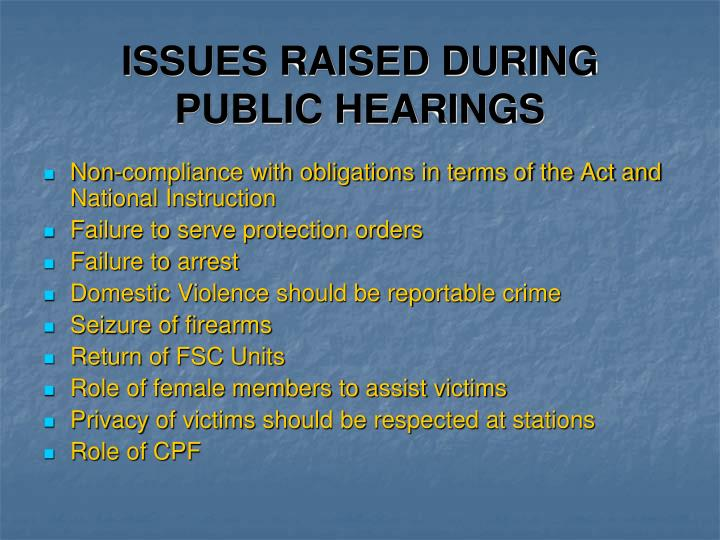 ISSUES RAISED DURING PUBLIC HEARINGS