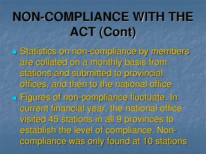 NON-COMPLIANCE WITH THE ACT (Cont)