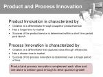 product and process innovation