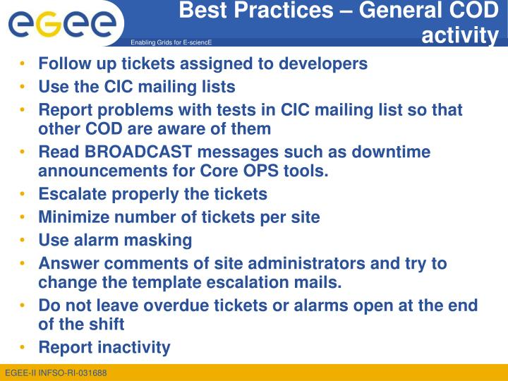 Best practices general cod activity
