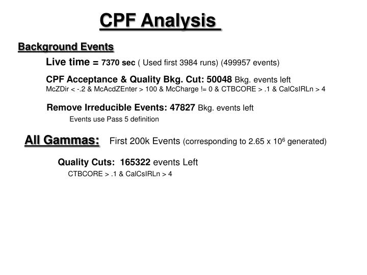 CPF Analysis
