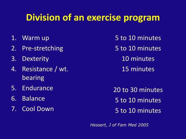 Division of an exercise program