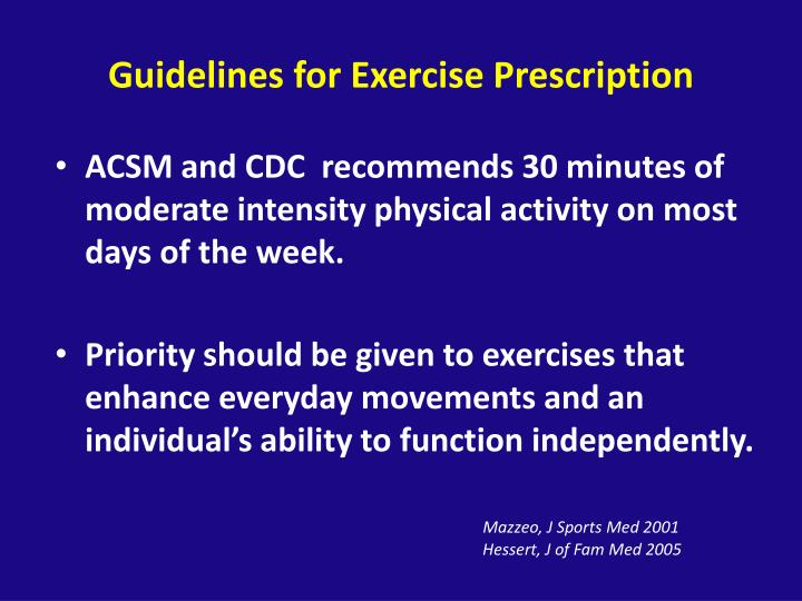 Guidelines for Exercise Prescription