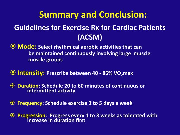 Guidelines for Exercise Rx for Cardiac Patients (ACSM)