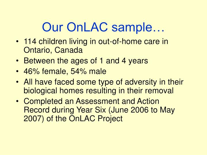 Our OnLAC sample…