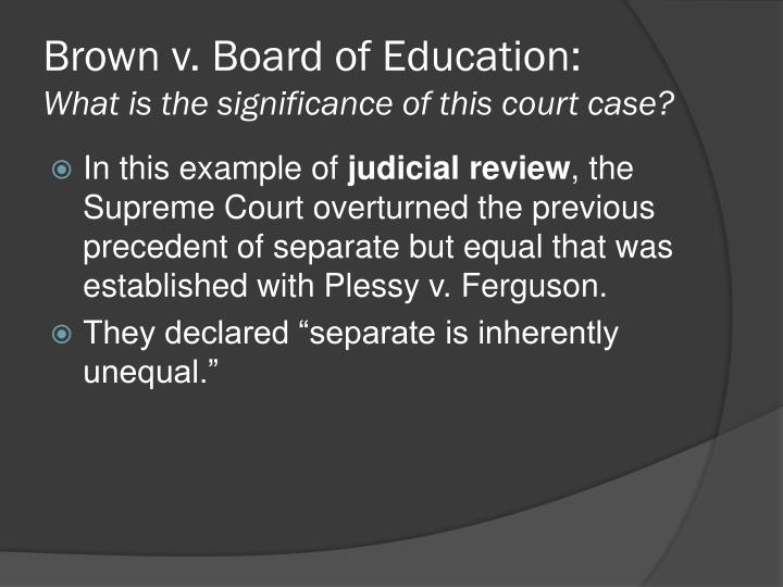 Brown v. Board of Education of Topeka, Kansas: Definition, Decision & Significance