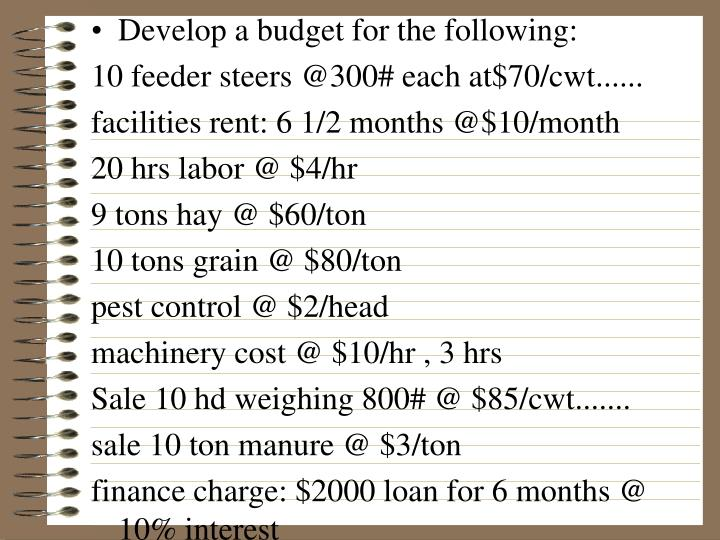 Develop a budget for the following:
