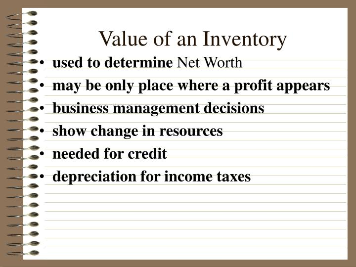 Value of an Inventory