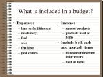 what is included in a budget