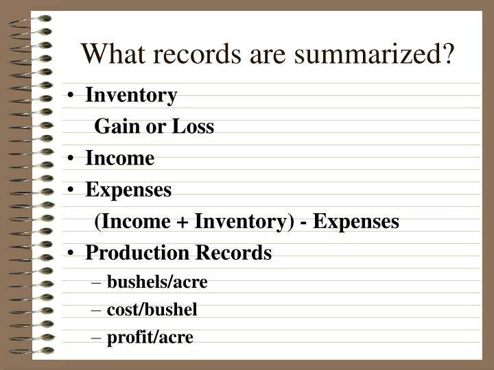 What records are summarized?