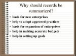 why should records be summarized