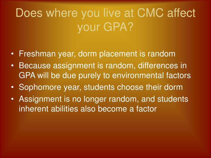Does where you live at cmc affect your gpa