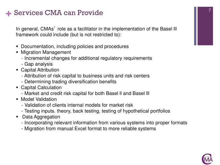 Services CMA can Provide