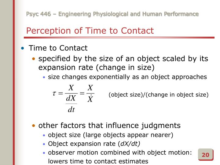Perception of Time to Contact