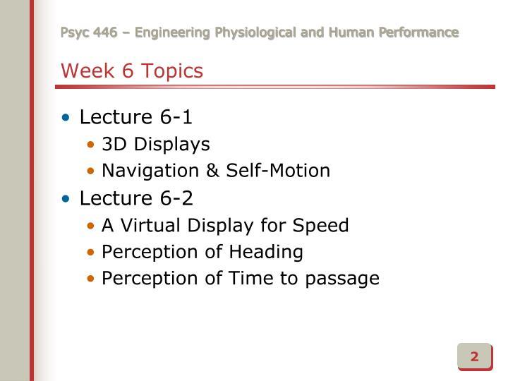 Week 6 Topics